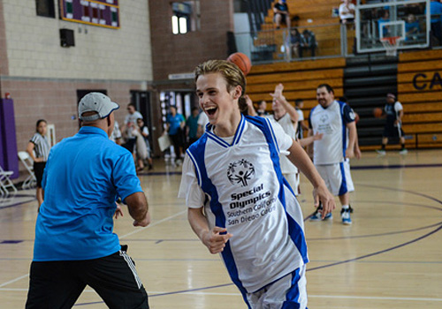 Special Olympics athlete from San Diego competes in basketball.